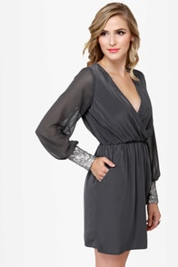 Cuff'n Up Grey Sequin Dress at Lulus.com!