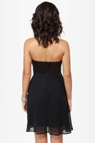 Madame Bow-vary Strapless Black Dress