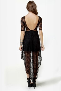 Wish You Were Sheer Black High-Low Lace Dress at Lulus.com!