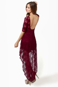 Wish You Were Sheer Burgundy High-Low Lace Dress at Lulus.com!
