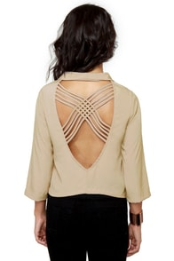 Opening Lines Backless Light Taupe Blazer at Lulus.com!