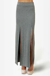 Makin' Moves Heather Grey Maxi Skirt at Lulus.com!