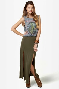 Makin' Moves Olive Green Maxi Skirt
