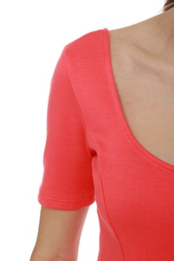 Aim to Please Short Sleeve Coral Top