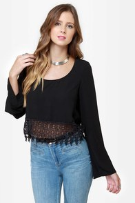 Crop It Like It\\\\\\\\\\\\\\\'s Hot Black Lace Top