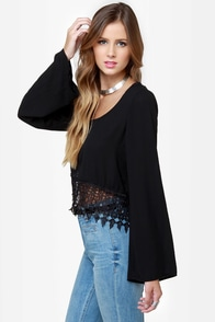 Crop It Like It's Hot Black Lace Top at Lulus.com!