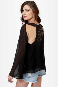 Break of Dawn Black Lace Top