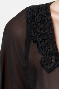 Break of Dawn Black Lace Top at Lulus.com!