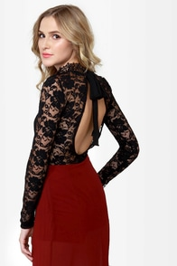 Fan the Fire Black Lace Top