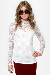 Fan the Fire Ivory Lace Top at Lulus.com!