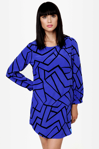 Piece Keeper Blue Shift Dress at Lulus.com!