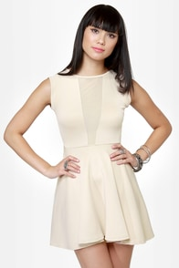 Let It V Cutout Beige Dress