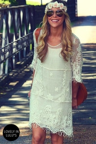 Live for Today Cream Crochet Dress at Lulus.com!