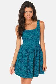 Jack by BB Dakota Corrine Blue Jacquard Dress