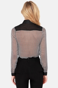 White Crow Lonn Black Houndstooth Print Button-Up Top at Lulus.com!