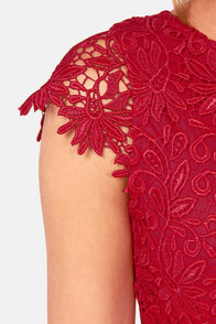 Rubber Ducky Suite Life Backless Wine Red Lace Dress at Lulus.com!