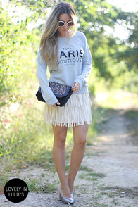 Start Your Fringe-ines! Cream Fringe Mini Skirt at Lulus.com!