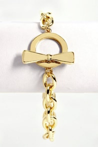 Bow and Chain Gold Chain Bracelet at Lulus.com!