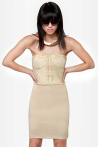 First Place Laced Strapless Beige Dress at Lulus.com!
