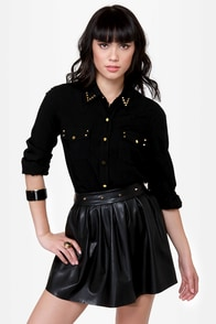 Into the Sunset Studded Black Button-Up Top