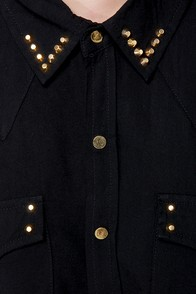 Into the Sunset Studded Black Button-Up Top at Lulus.com!