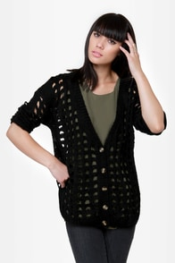 Waffle Stack Black Cardigan Sweater at Lulus.com!