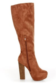 Ardiente Sole Freedom Tan Platform Knee High Boots