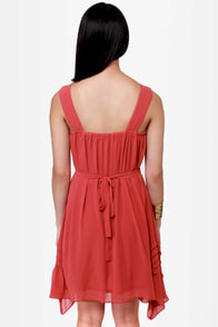 Pleat Smarts Brick Red Dress at Lulus.com!