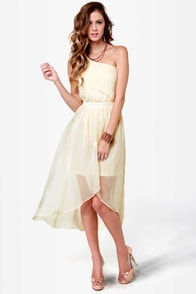 Sail Away Cream High-Low Dress at Lulus.com!