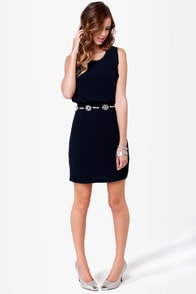 Diamond Dozen Navy Blue Beaded Dress at Lulus.com!