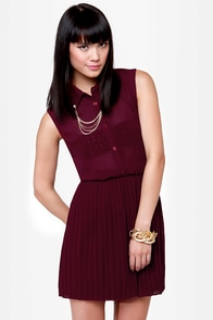 Chain Station Burgundy Dress