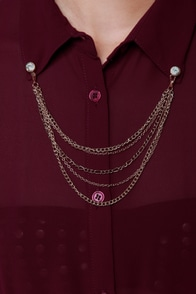 Chain Station Burgundy Dress at Lulus.com!