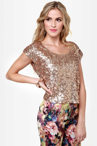 Flashbulb Gold Sequin Top at Lulus.com!