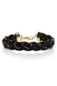 Rock and Wrist Braided Black Leather Bracelet
