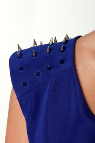 What's Not to Spike? Studded Blue Dress at Lulus.com!