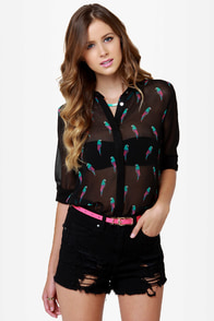 Parrot Aces Sheer Print Top