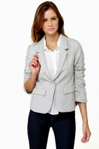 I\'m the New Intern Grey Tweed Blazer