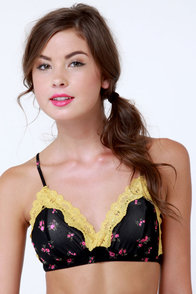 Foreign Accent Black Floral Print Bra Top