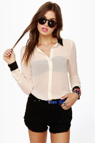 Olive & Oak Sonny and Sheer Black and Cream Top