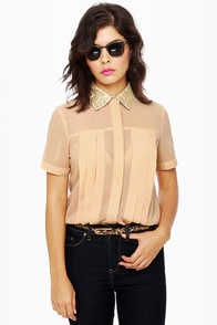 Claim to Fame Dusty Peach Sequin Top