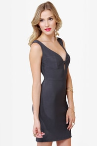 Number One Stunner Cutout Charcoal Grey Dress