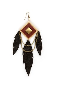 Claire Fong Trifecta Brown and Black Leather Earrings at Lulus.com!