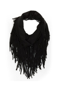 Festival Nights Black Fringed Infinity Scarf