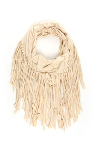 Festival Nights Beige Fringed Infinity Scarf