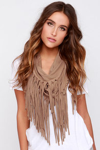 Festival Nights Brown Fringed Infinity Scarf
