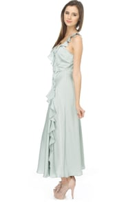 Just Yesterday Blue Satin Maxi Dress