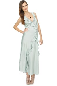 Just Yesterday Blue Satin Maxi Dress
