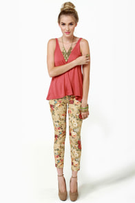 Blossom and Jetsam Beige Floral Print Ankle Jeans at Lulus.com!