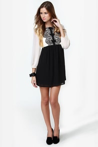 Darling Jasmine Black and Cream Babydoll Tunic at Lulus.com!