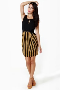 Darling Serena Black and Gold Striped Dress